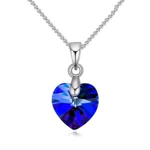 Jewelry - 925 Blue Zircon Heart Pendant Necklace